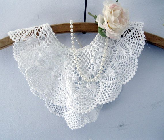 Crochet collar, Neck Wear, White, Handmade, Victorian, Costume, Wedding, by mailordervintage on etsy