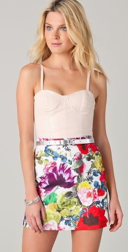Alice + Olivia bustier top and floral skirt...I think the metallic belt is genius. ;)
