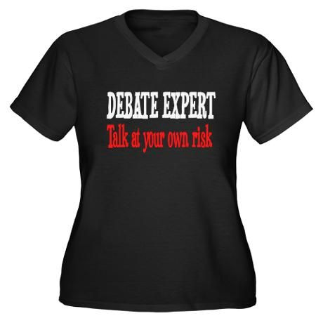 155bc3ccd71 Debate Expert talk at your risk Women's Plus Size V-Neck Dark T ...