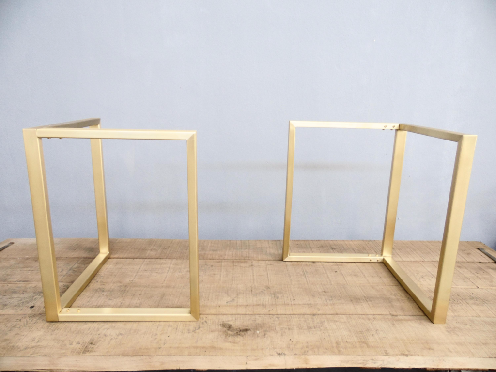 28 H X 23 D X 23 S L Look Brass Dining Table Base Trestle Set 2