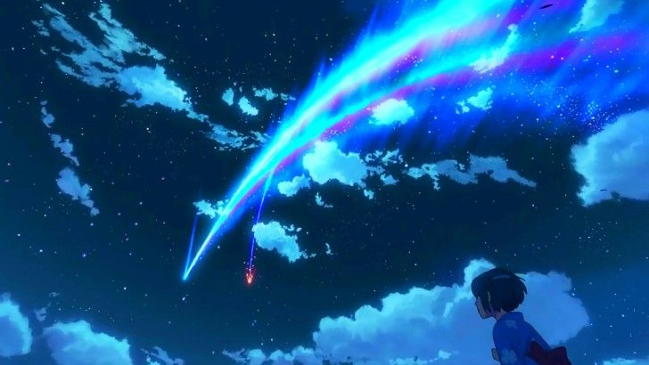 Your Name. Anime Night Sky Scenery Comet Clouds Stars Wallpaper
