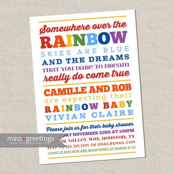 Rainbow Baby Shower Invitation   Somewhere Over The Rainbow   Poem Or  Subway Art Shower