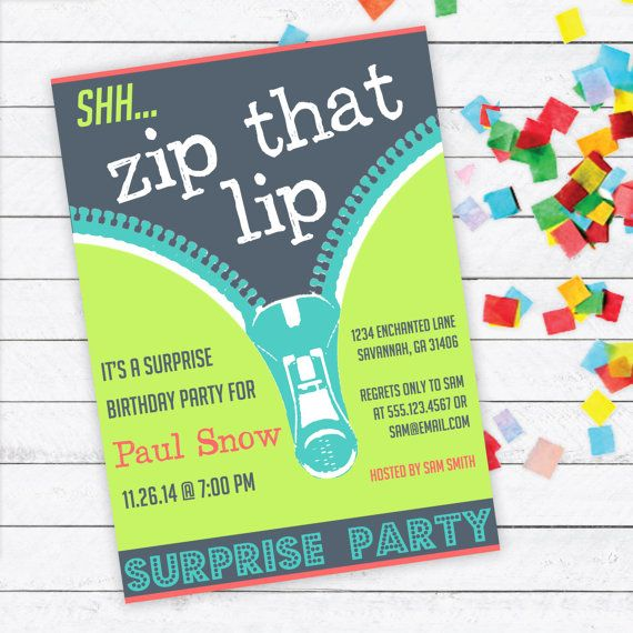 Zip That Lip Surprise Party Invitation Birthday Kids DIY