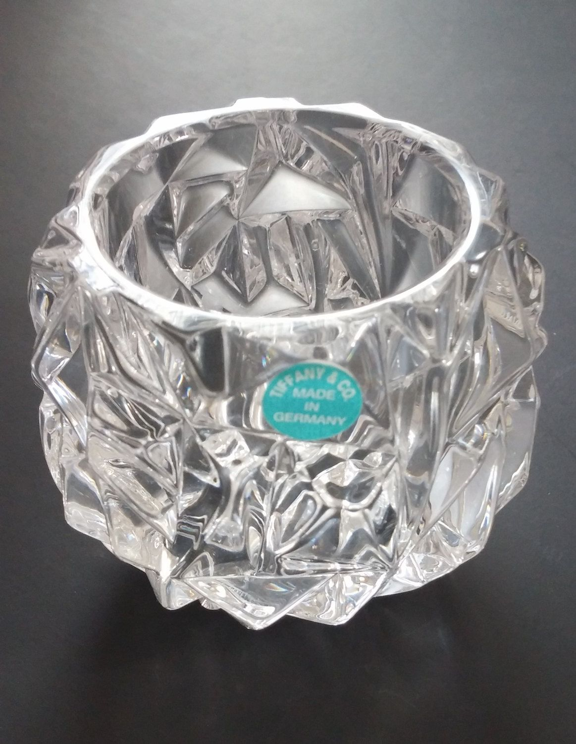 275035e9c194 Beautiful Tiffany and Co Crystal Rock Cut Votive Candle Holder ...