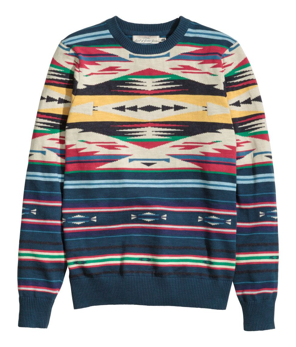 Long-sleeved, jacquard-knit sweater with multicolored geometric print in  bright red, green, blue, and yellow.   H M For Men 8a37c3b0862