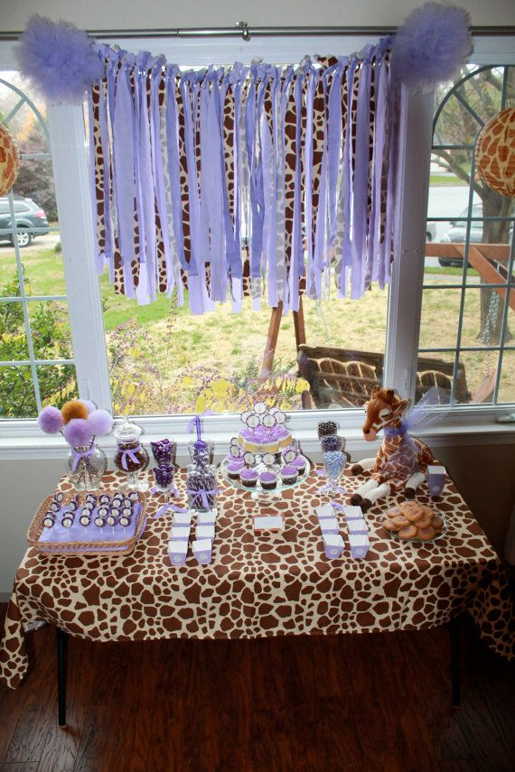 Giraffe And Purple Safari Baby Shower Or Birthday By Prettimini