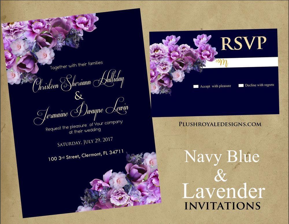 Navy Blue And Lavender Wedding Invitations Purple