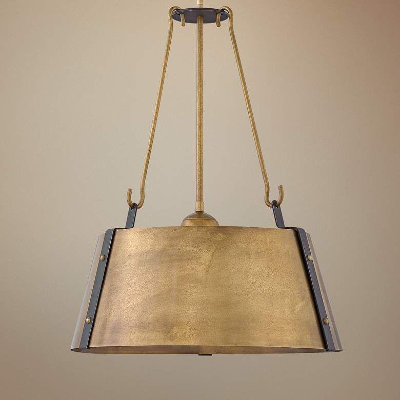 Hinkley Cartwright 19 1 2 Wide Rustic Brass Pendant Light