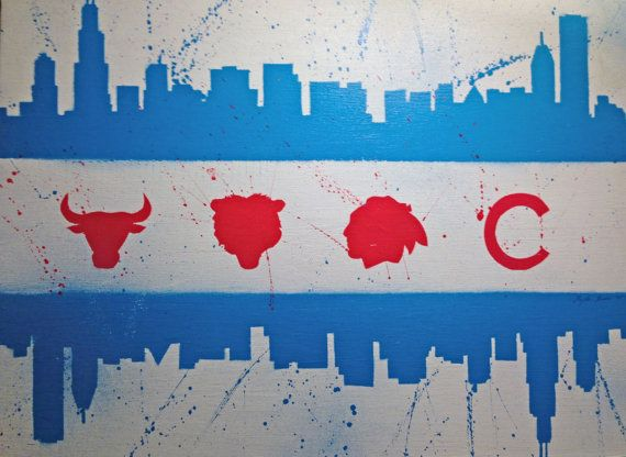 Chicago Flag Skyline Sports Painting Etsy In 2020 Sports Painting Chicago Flag Painting