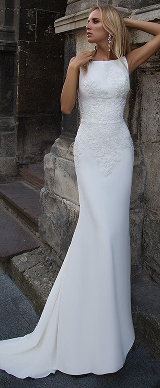 Attractive acetate satin bateau neckline mermaid wedding dress with