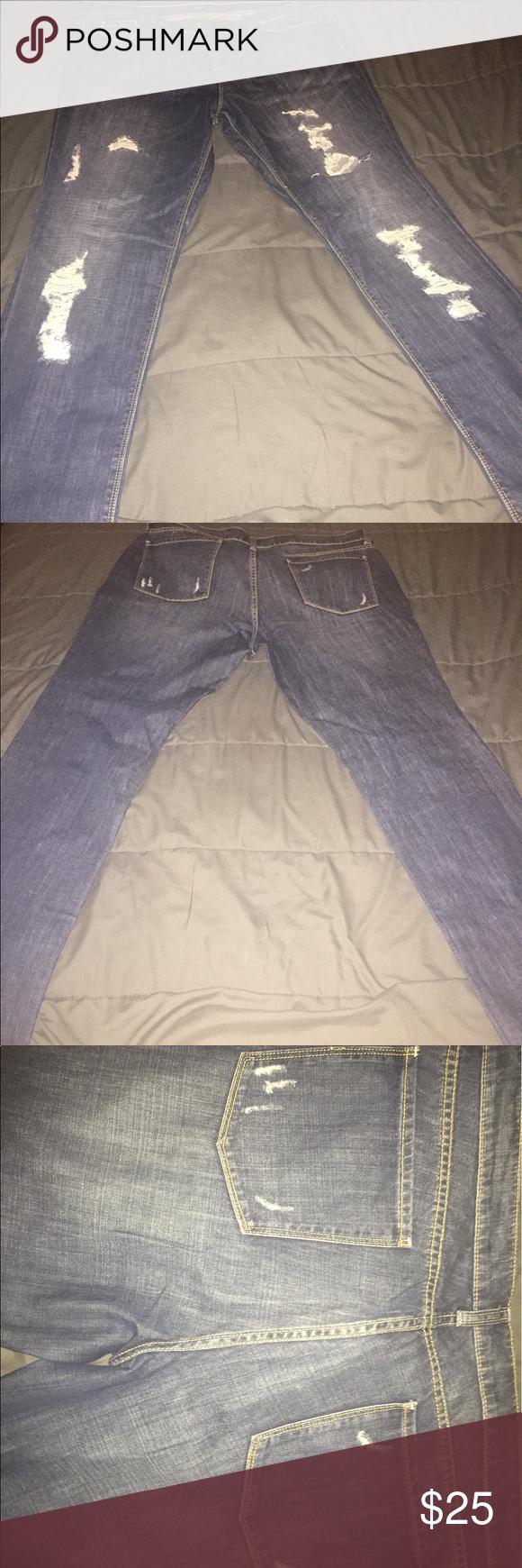 London Jean (Victoria's Secret) distressed jeans Distressed jeans. Never worn! Victoria's Secret Jeans Straight Leg