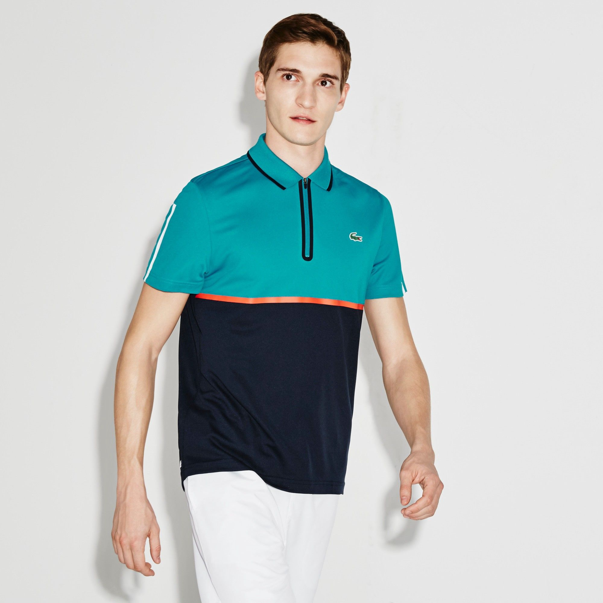 Lacoste Men S Sport Ultra Dry Zip Pique Knit Tennis Polo Shirt Oceanie Navy Blue Etna Re Modesens Lacoste Men Polo Shirt Lacoste