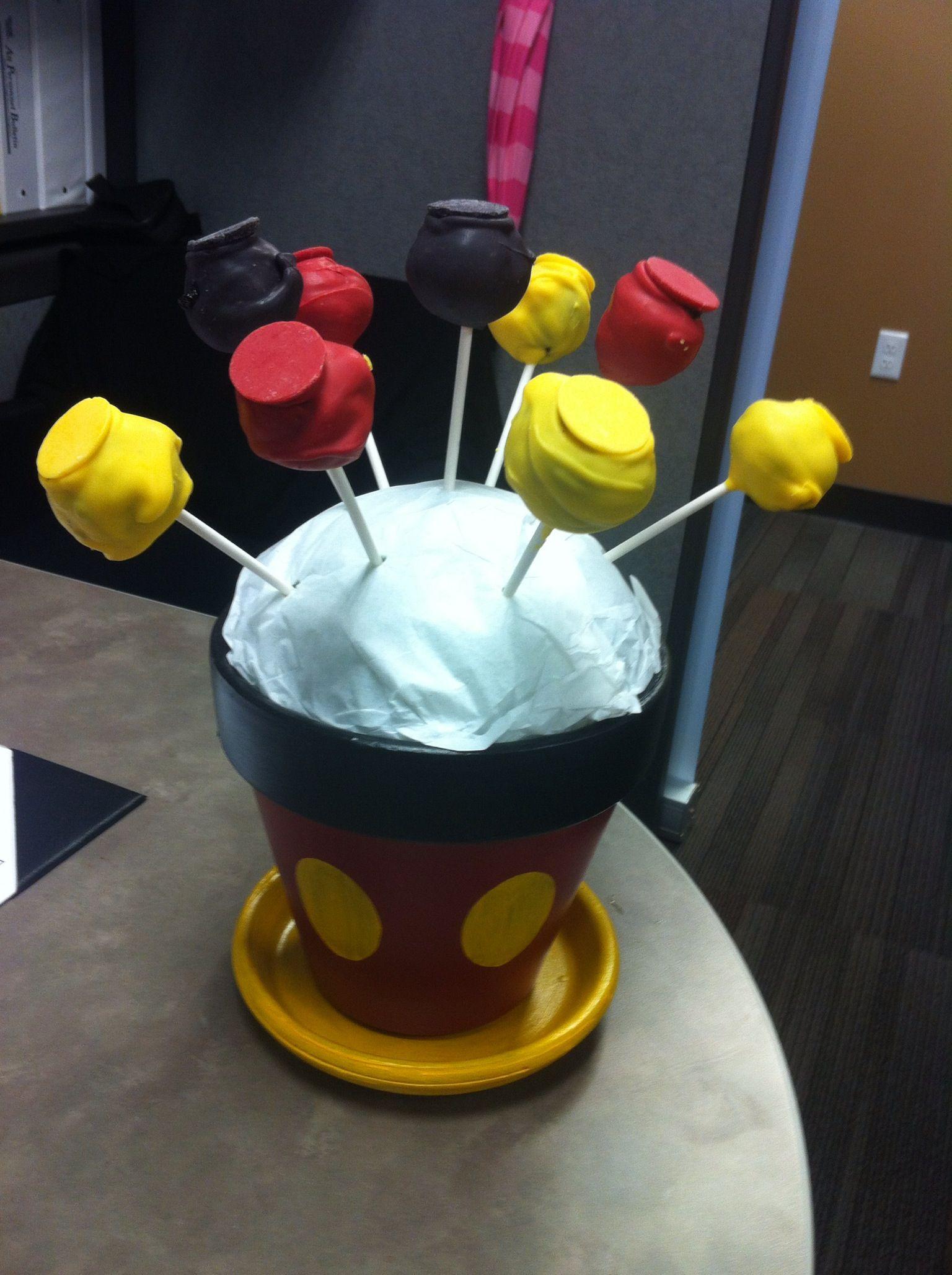 Mickey flower pot with Mickey cake pops Mickey cake pops