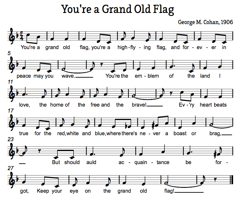 Treble In The Classroom You Re A Grand Old Flag Veteran S Day Music Activity Music Activities Veterans Day Songs Elementary Music Education