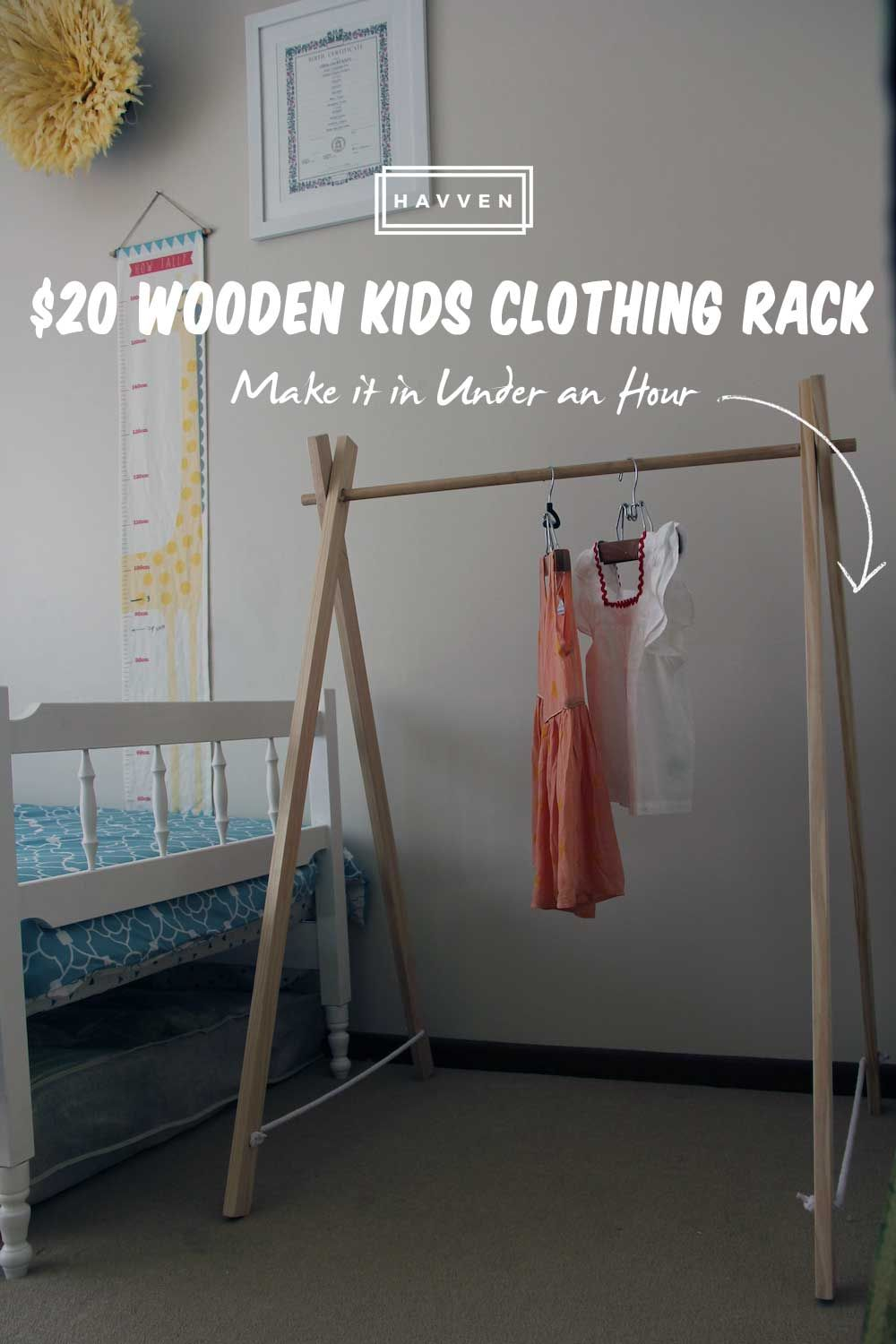 DIY $20 Wooden Kids Clothing Rack Make in Under an Hour