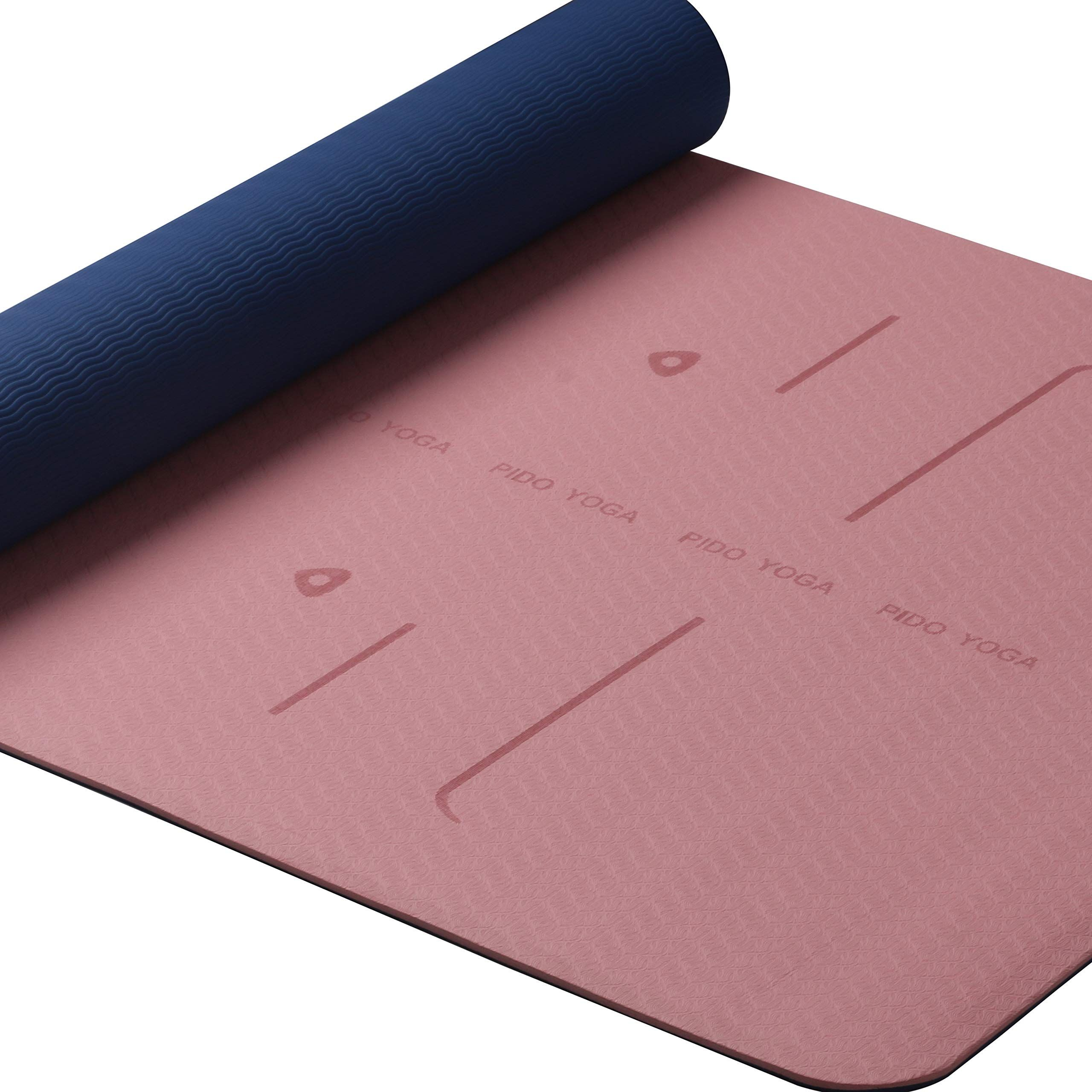 Wwww Pido Yoga Mat Sgs Certified Tpe Eco Friendly Sticky Non Slip Exercise Mat With Body Alignment System With Carrying S Yoga Pilates Yoga Mat Pilates Workout