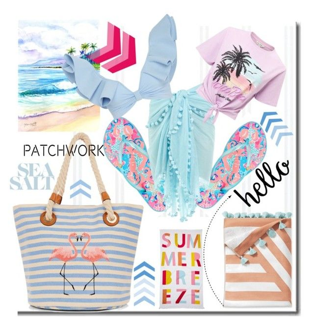 """Jul. 1 - Patchwork in Sea Salt"" by martinambf on Polyvore featuring moda, Lilly Pulitzer, Melissa Odabash, Nordstrom Rack, Miss Selfridge, Serena & Lily e Johanna Ortiz"