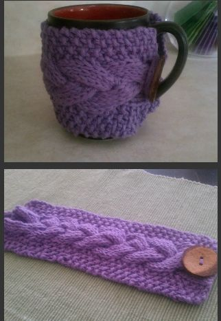 Free Knitting Pattern Cable Knit Coffee Mug Cozy Cosy Sleeve And