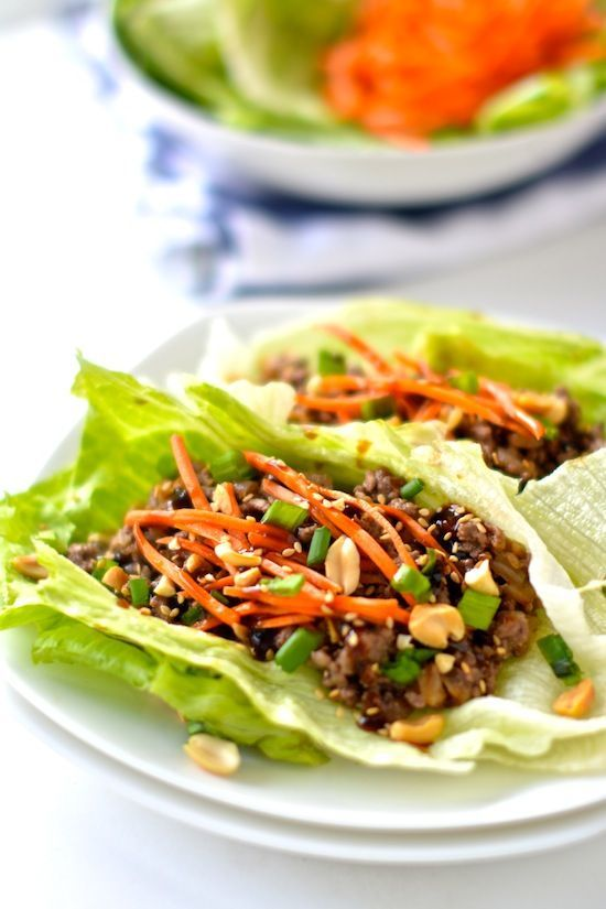 Asian Lettuce Wraps Healthy Asian Lettuce Wraps: 1¼ lb 96% lean grnd beef, 1T olive oil, 1 c. onion- roughly choppd, 4 cloves garlic- diced, 1-in piece ginger- diced, ¾ c. water chestnuts- roughly choppd, 5 T hoisin sauce 1T soy sauce, Bibb lett, Optional toppings: shredd carr, roughly choppd pnuts, toasted sesame sds, choppd grn onionHealthy Asian Let...