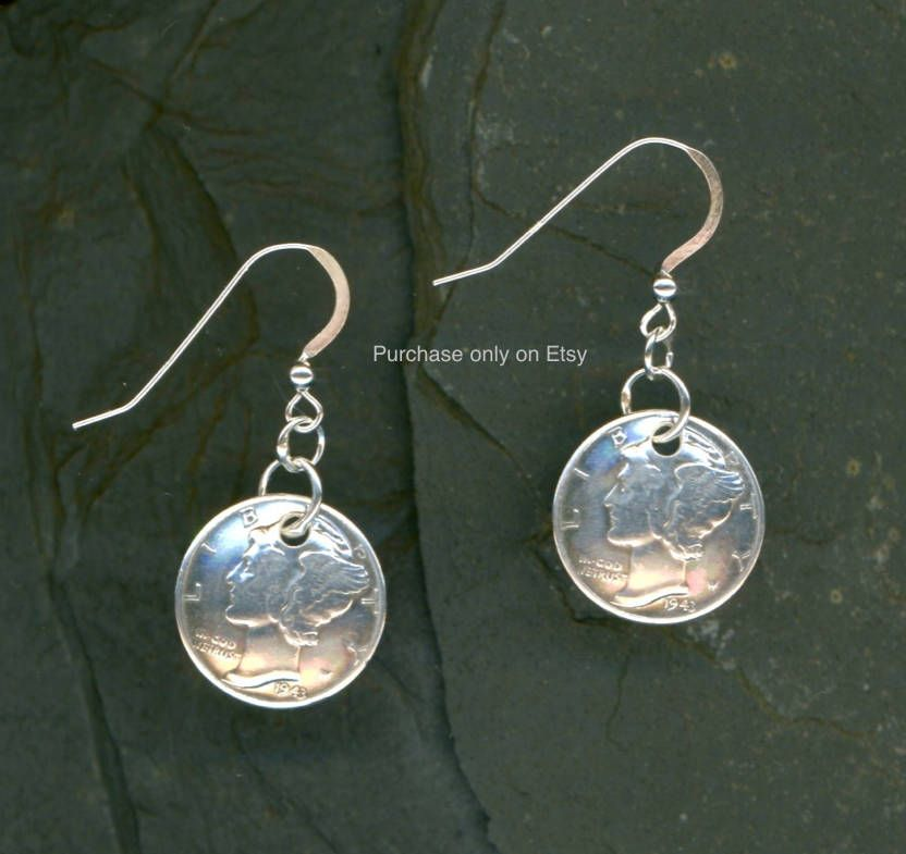 75th Birthday Gift 1944 Dime Earrings Coin Jewelry Dimes By WvWorksJewelry On Etsy
