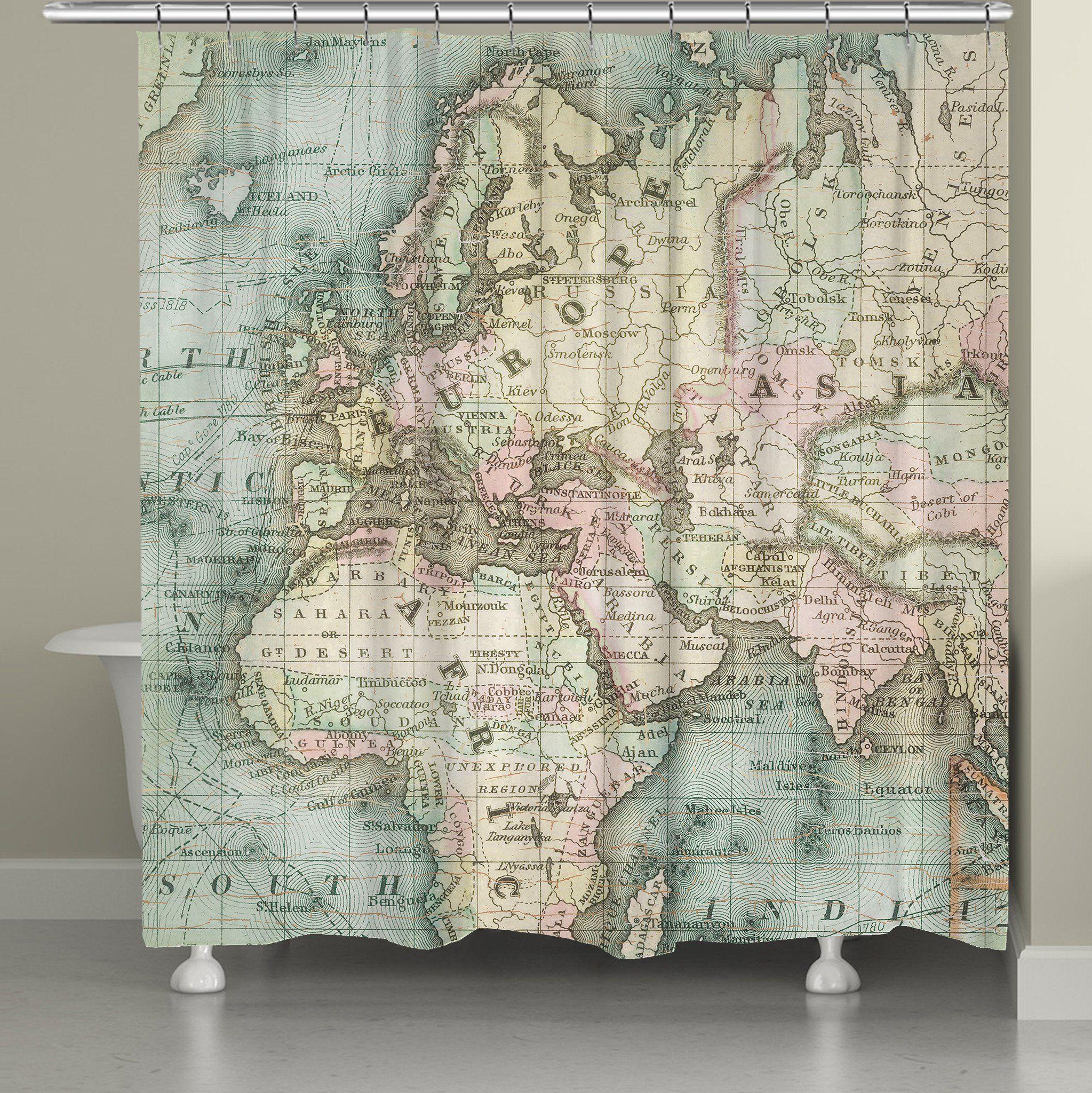 World Map Shower Curtain Curtains Map Vintage Mermaid