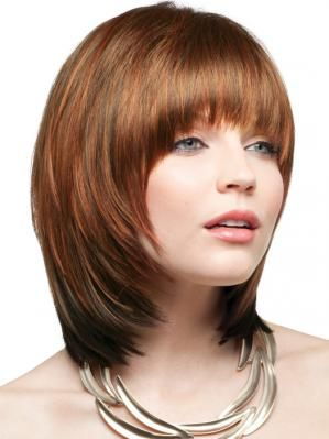 A Sleek Shoulder Length Blunt Cut With Long Bangs And Face Framing Layers