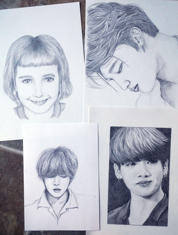 Some pencil sketches graphite jimin jungkook bts pencil sketch