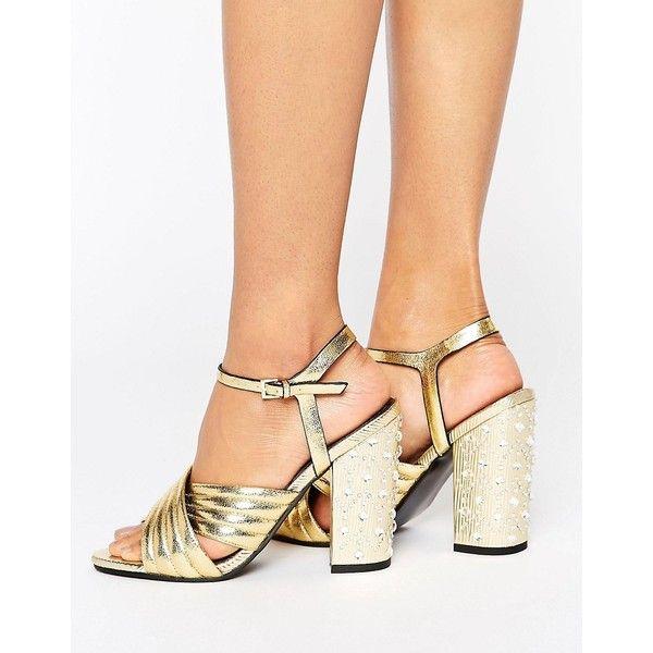 Miss Selfridge Gold Quilt Jewel Heel