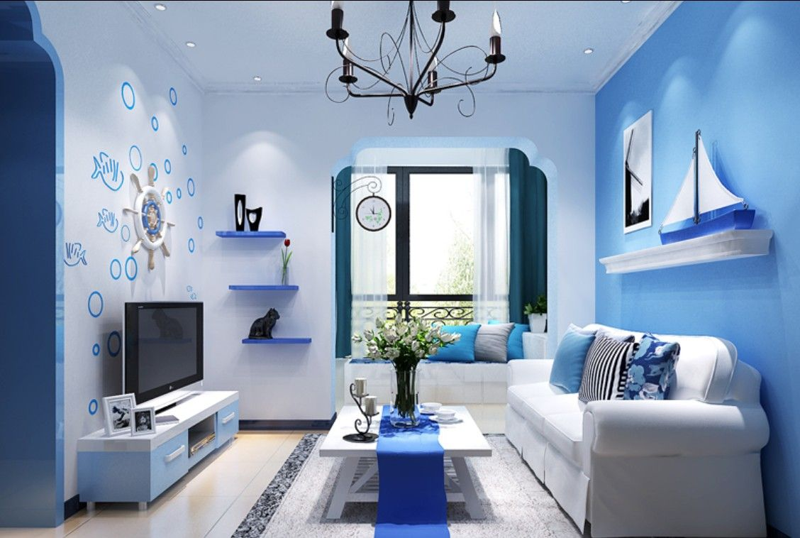 stunningly blue living room - http://www.speedchicblog