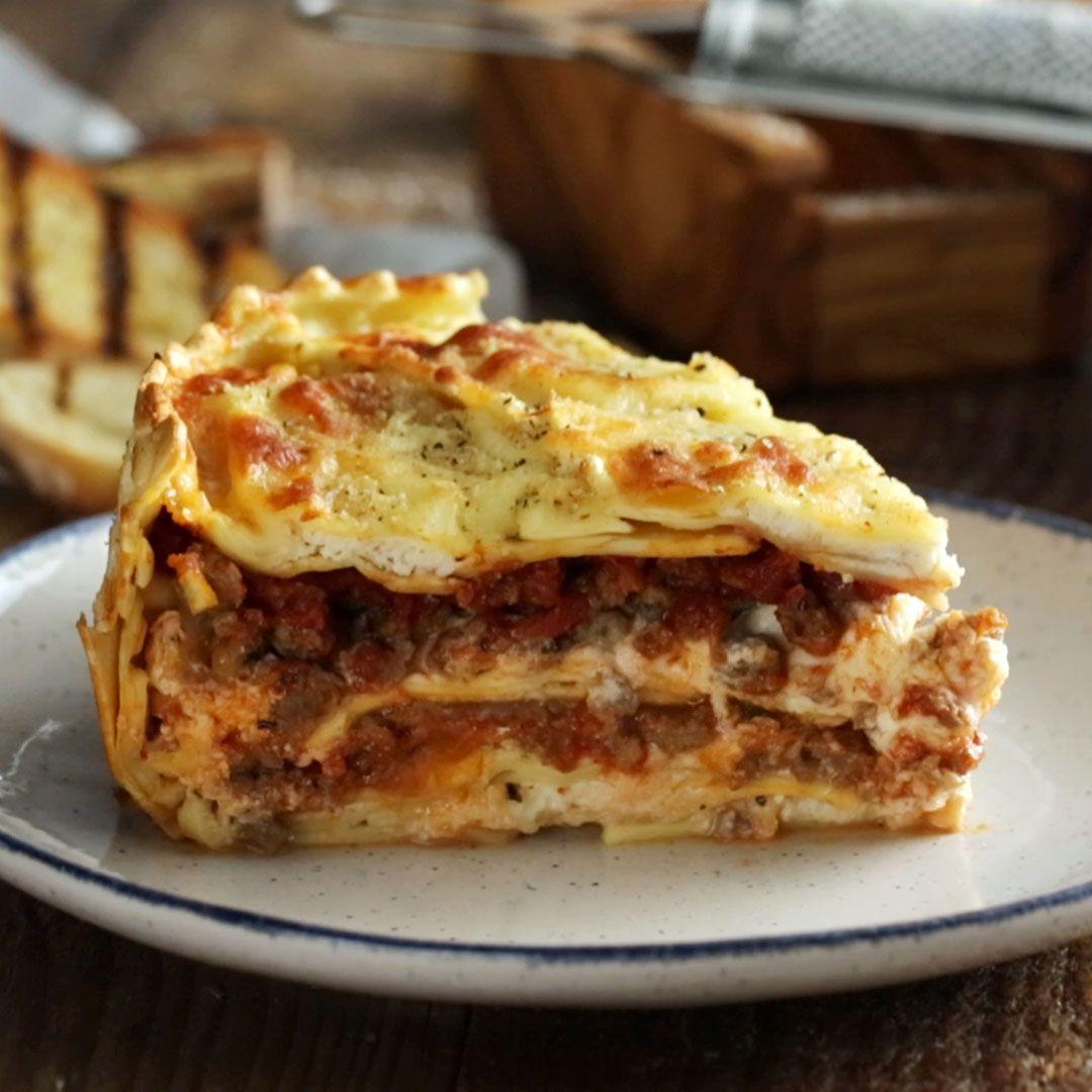 Cheesy Ravioli & Sausage Pie