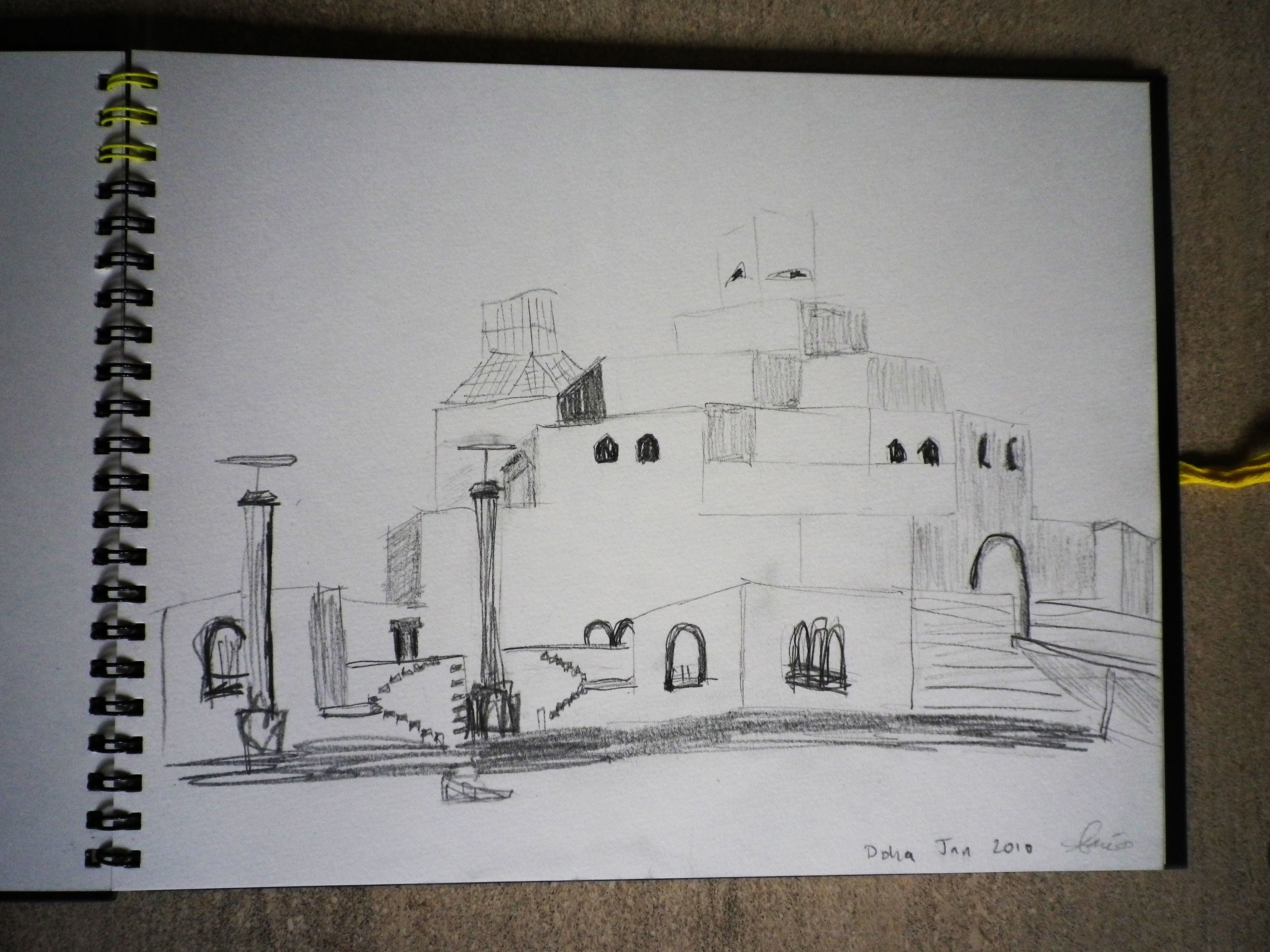 Pencil sketch: Museum of Islamic Arts, Doha 2010