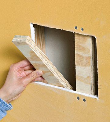 Screw plywood into position | Spackle | Diy home repair, Home fix