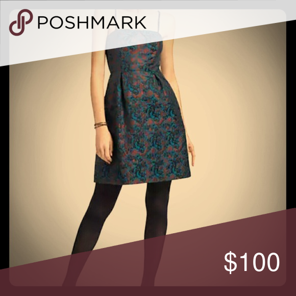 Anthropologie Paprika Brocade Dress Brand new never worn Paprika Brocade dress in a deep blue and maroon. Beautiful for an evening occasion or under a sweater for a more casual look. More photos coming. Anthropologie Dresses