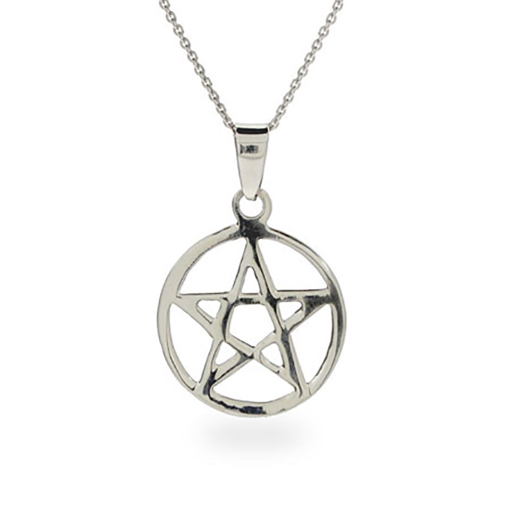 The pentagram necklace in sterling silver features a star in the the pentagram necklace in sterling silver features a star in the middle with a circle mozeypictures Images