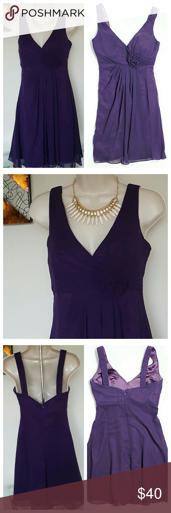 """Ever-Pretty Dark Purple Cocktail Dress - Sz 6 New with tags. Ever-Pretty brand cocktail dress in size 6. Sleeveless, A-line silhouette, v-neck with ruched empire waist topped with rose. Back zip closure. Sewn  in light foam bra inserts. Perfect for wedding, dance or cocktail party. Approximate measurements: 16.5"""" Relaxed Bust (36.5"""" Chest), 27"""" Empire Waist, 35"""" Length from shoulder top to bottom hemline. 100% Polyester. Ever-Pretty Dresses"""
