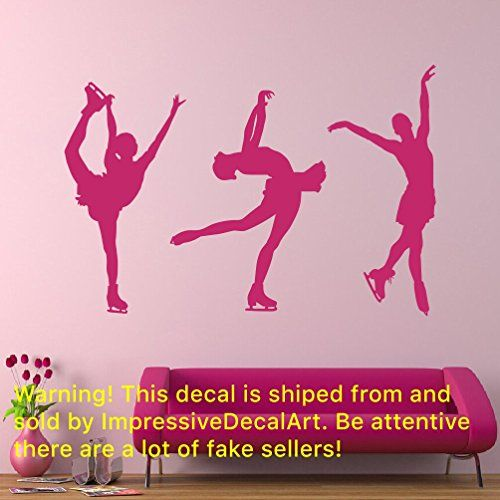 Figure Skating Art Vinyl Stickers Girls Wall Decals Mural Removable ...