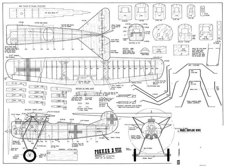 Foker D VIII model airplane plan