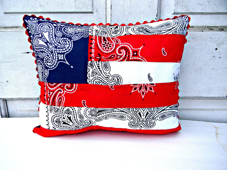 bandana pillows Red White and Blue Bandana Patchwork Flag Pillow