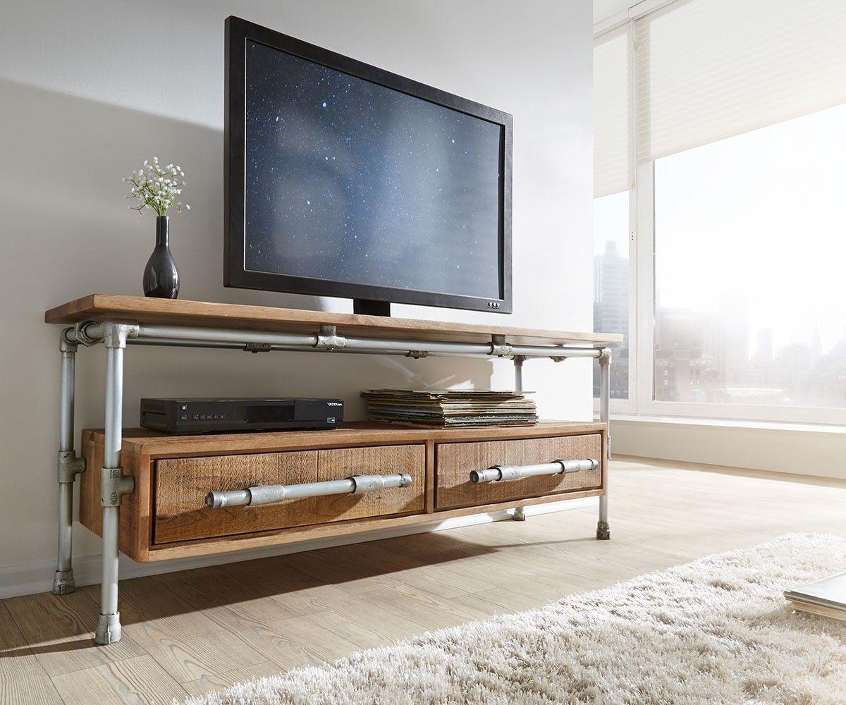Lowboard Pipeline 144x42 Mango Teakfarben Metall 2Schübe Möbel Tische Fernsehtische