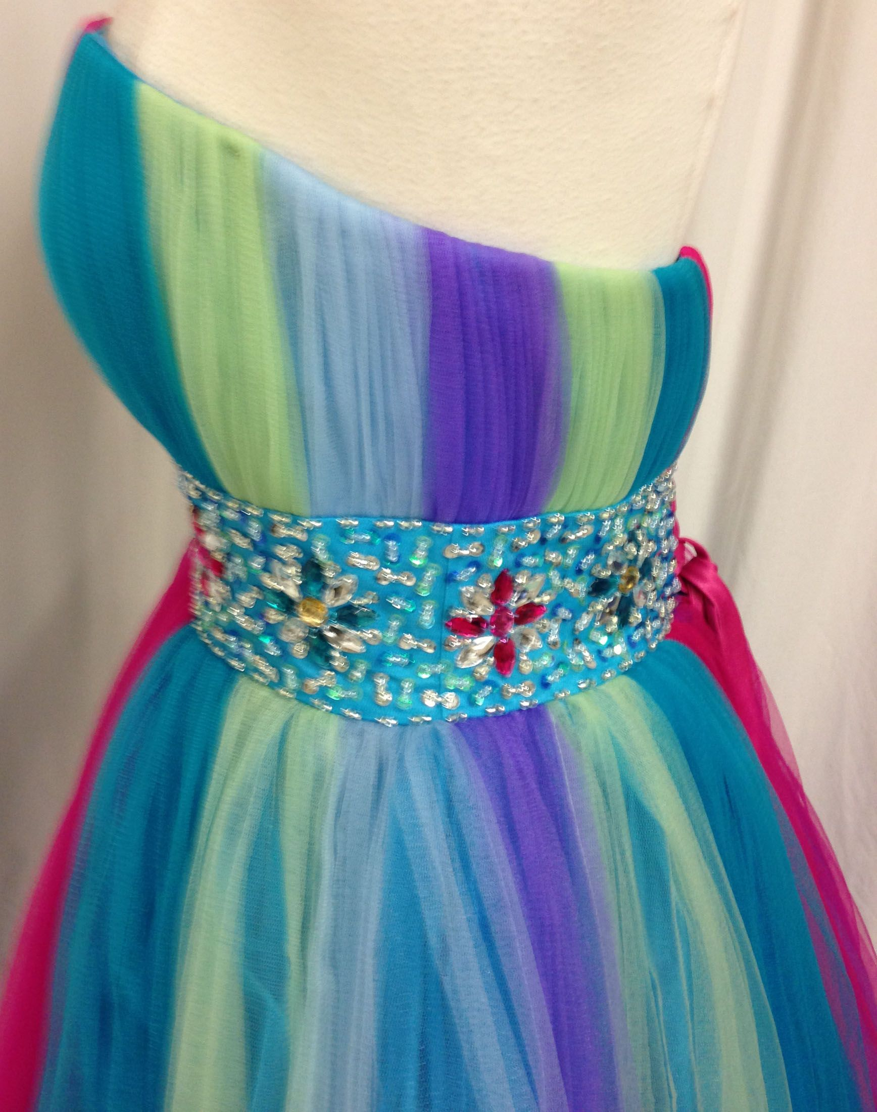 Rainbow Quinceanera Sweet 16 Dance Ball Gown Dress Pageant Party ...