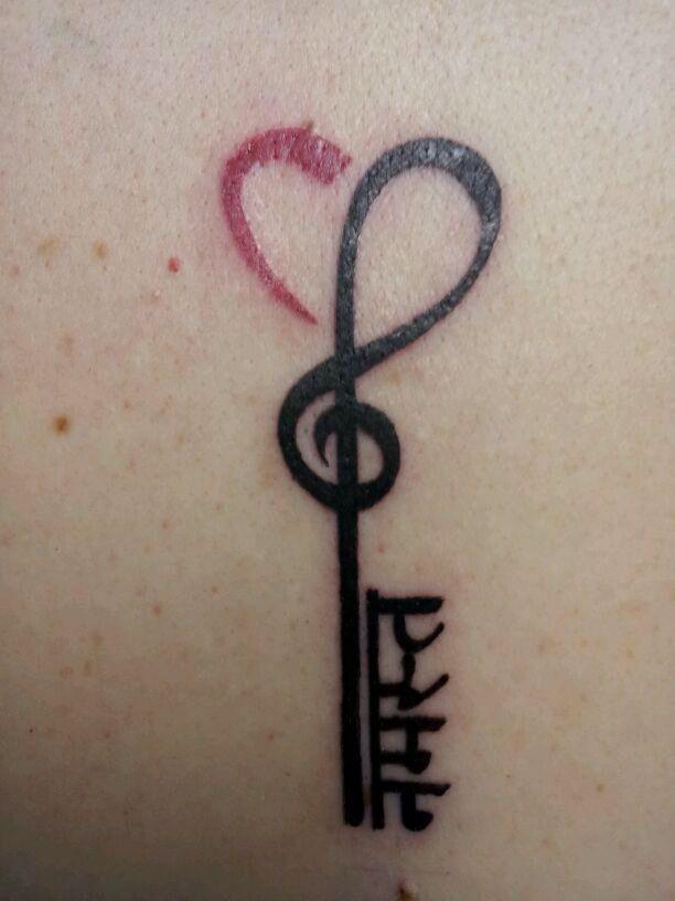Tattoos Treble Clef Heart Key Tattoo With Namaste In Sanskrit