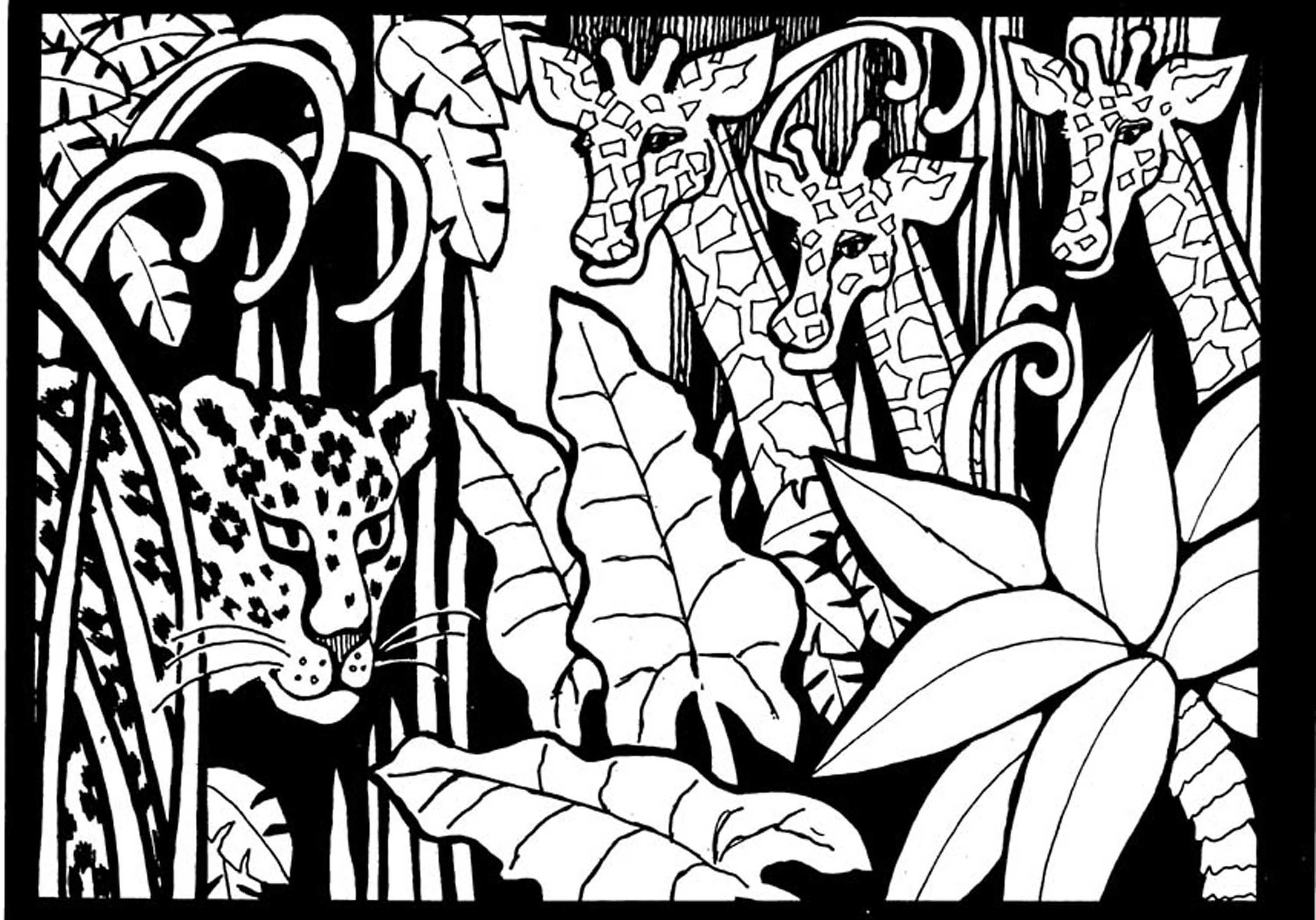 To print this free coloring page «coloring-adult-africa-giraffes-to ...
