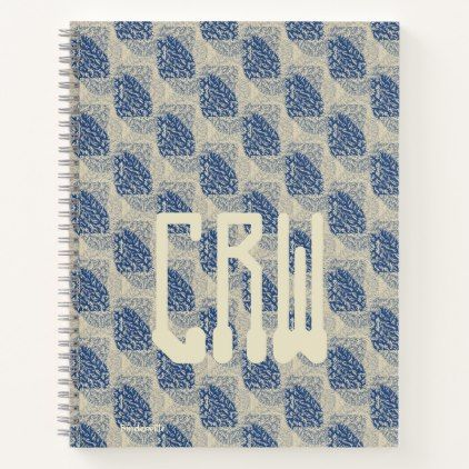 Blue Ivory Modern Graphic Design Monogram Template Notebook - notebook paper template
