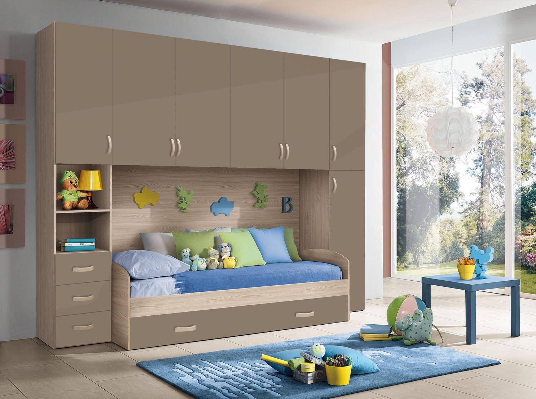 Chambre d'enfant HURRA lit pont décors orme / beige