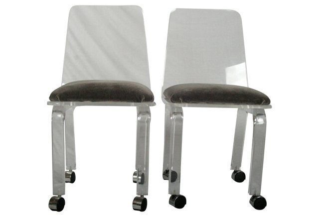 Lucite Desk  Chairs, Pair