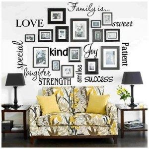 """Family Picture & Inspiration Wall!!!  (frames from Goodwill, black spray paint, She used """"HAND CUT"""" vinyl, pictures and nails). Perfect for guest bedroom hallway"""