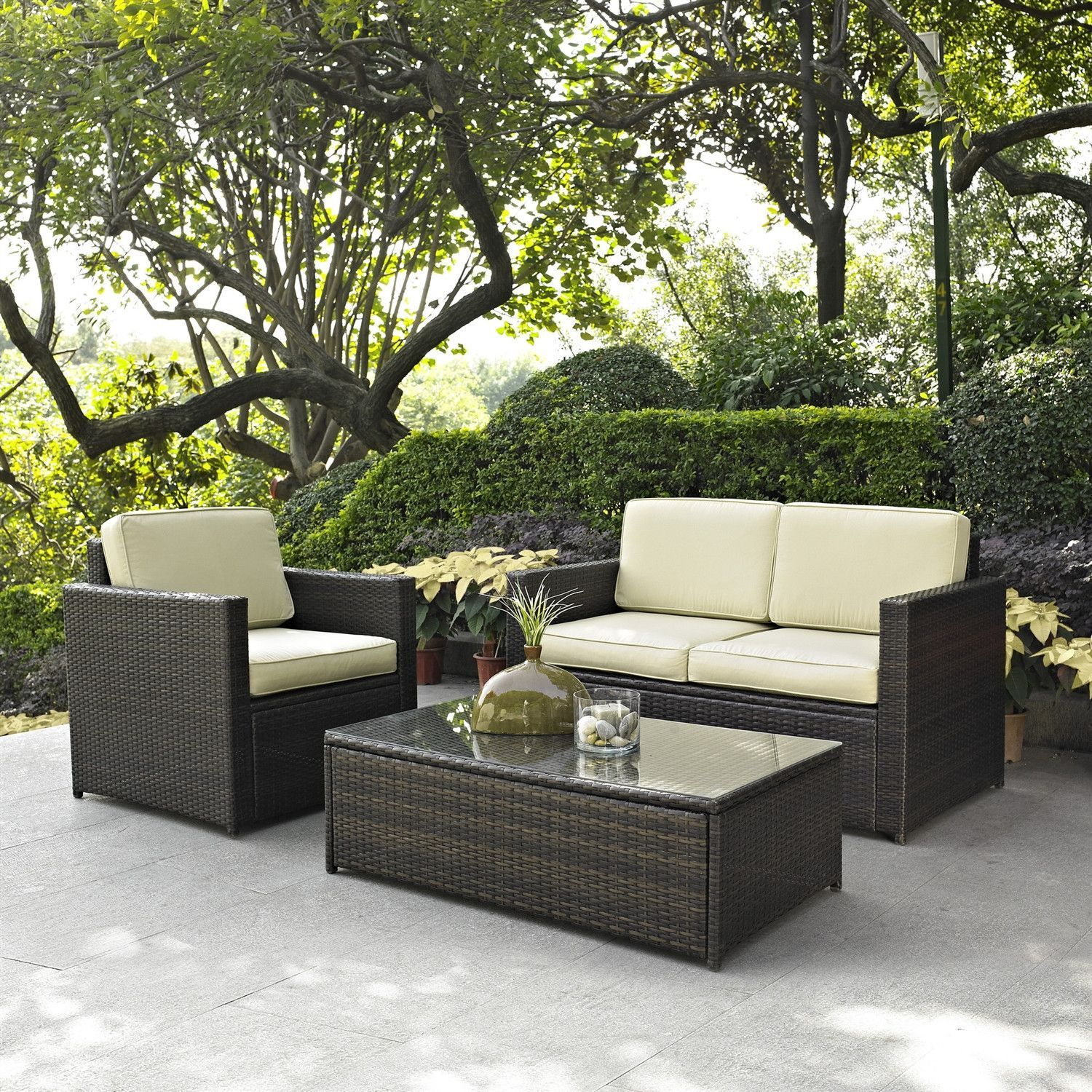 3 Piece Outdoor Patio Furniture Set With Chair Loveseat And