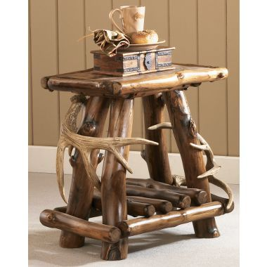 Cabelas Exclusive Bring The Rich Rustic Feel Of A Five Star Lodge To Your Home Or Cabin End Table Combines Genuine Aspen And