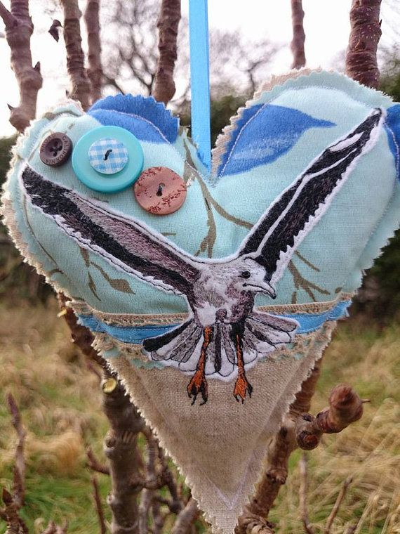 Seagull embroidered appliqué hanging heart by LilCritterDesigns