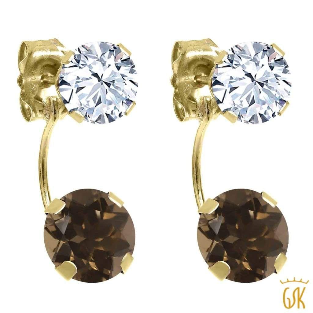 14K White Gold Earrings With Round Smoky Topaz Gemstones